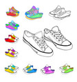 colored sneakers sketch vector image vector image