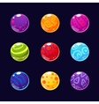 Colorful Glossy Stones and Buttons with Sparkles vector image
