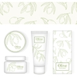 Cosmetic packing with the image of olive Pattern vector image vector image