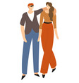 couple hugging and walking man and woman in love vector image