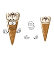 Cute cartoon summer ice cream in a cone vector image vector image