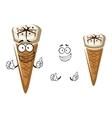 Cute cartoon summer ice cream in a cone vector image