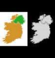 dotted halftone ireland countries map vector image vector image