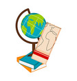 earth globe on a pile of books icon vector image