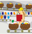 easter bunny counts the eggs on the conveyor belt vector image vector image
