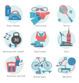 Fitness Gym Colored Icon Set vector image vector image