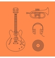 Flat icons of guitar vector image vector image