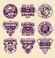 gaming set colored retro emblems vector image vector image