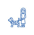 girl with dog line icon concept girl with dog vector image vector image