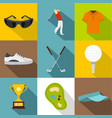 golf equipment icon set flat style vector image vector image