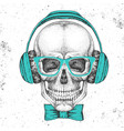 hand drawing hipster skull with headphones vector image vector image
