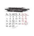 Handdrawn calendar September 2015 vector image vector image