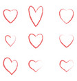 hearts set for valentines day isolated on withe ba vector image vector image