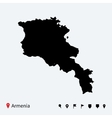 high detailed map of armenia with navigation pins