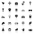 Hipster icons with reflect on white background vector image