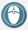 icon computer mouse on white circle with a long vector image