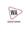 initial letter wa triangle design logo concept vector image vector image