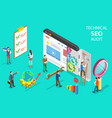 isometric flat concept technical seo vector image