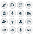 job icons set with effective teamwork office vector image vector image