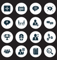 job icons set with remove worker research 5-star vector image