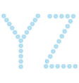 Letter Y Z from snowflakes vector image vector image