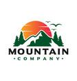 logo design sunset views on mountain vector image vector image