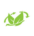 logo of green leaf ecology with recycle icon vector image