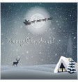 merry christmas greeting card with little house vector image