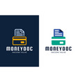 money document and credit card icon linear logo vector image vector image