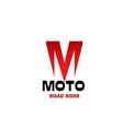 moto road rider emblem vector image vector image