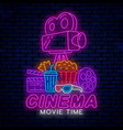 neon sign for movie theater vector image vector image