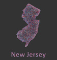 New Jersey line art map vector image vector image