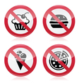 No fast food no sweets warning red sign vector image