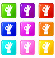 ok gesture icons 9 set vector image vector image