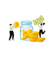 people collecting and saving money in glass jar vector image