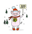 pork symbol of new 2019 yeartrees and snowflakes vector image