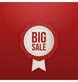 Realistic big Sale red Label and white Ribbon vector image