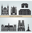 reims landmarks and monuments vector image vector image