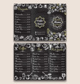 restaurant hot drinks menu design with chalkboard vector image vector image