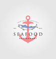 seafood logo vintage hipster anchor label badge vector image