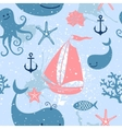 Seamless pattern with cute whales sailing vector image