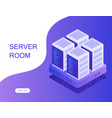 server room hosting with cloud data storage vector image vector image
