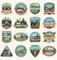set camp and kayak club badges concept vector image vector image