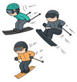 set of skiing vector image