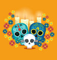 skulls with flowers to celebrate day of the dead vector image vector image