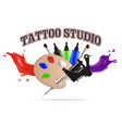 tattoo studio label emblem logo template vector image vector image