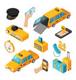 taxi service isometric isolated icons vector image vector image