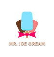 three ice cream with an inscription vector image