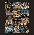 vintage american college sporting badges patchwork vector image vector image