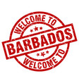 welcome to barbados red stamp vector image vector image
